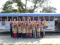 United Way of Long Island's Stuff-A-Bus program, Rosco volunteers helped load, over 50,000 assorted pieces of school supplies onto a school bus.