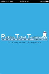 Front opening screen of the Parking Ticket Terminator - On Street Now App