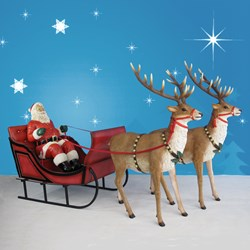 Giant Santa, Sleigh and Two Reindeer