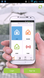 The iSmartAlarm Android app allows users to arm, disarm, and monitor and manage their home security from anywhere in the world
