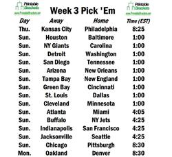 Week 3 Pick Em