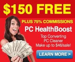software affiliate programs, Boost Affiliates, PC HealthBoost via ClickBank, $150 cash bonus