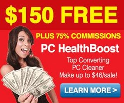 software affiliate programs, Boost Affiliates, PC HealthBoost via ClickBank, $150 cash bonus