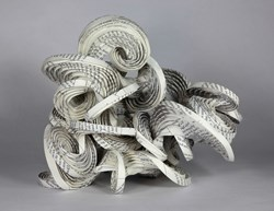 """Contemporary paper structure illustrating where science and math meet art on display in exhibition """"Crease, Fold and Bend"""" at Lafayette College"""