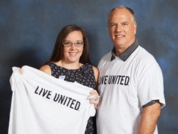 Kaiser Realty by Wyndham Vacation Rentals General Manager, Glen Kaiser, and Director of Marketing and Public Relations, Emily Gonzalez (Left, Right) show their support for the United Way of Baldwin County at the 2013 Campaign Kick-Off ceremony.