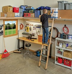 Rockleru0027s New Rolling Ladder System Provides Access To Shop And Garage  Storage Areas   Track System And Rolling Bracket Assemblies Allow Easy  Ladder ...