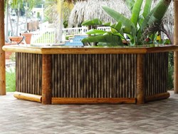 Faux bamboo is a distinctive addition.