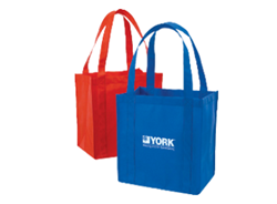 Two grocery tote bags with logos