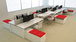 open plan, benching, workstation, adjustable, sit to stand
