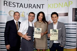 The 'culinary kidnappers' from left to right: AHMS Executive General Manager Yann Gouriou, Aleenta Hua Hin-Pranburi Resident Manager and culinary innovator for the evening James Noble, AHMS Founder and Managing Director Anchalika Kijkanakorn, and Taste Di