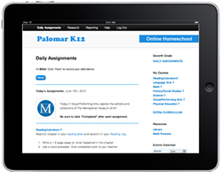 Palomar K12 Homeschool Platform Screenshot on iPad