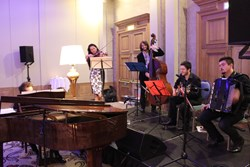 Sabina Rakcheyeva (violin) and the Deco Ensemble at the Labour party event