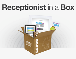 TextUs.Biz app boxed with ArmorActive iPad kiosk offers Receptionist in a Box