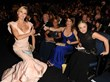JILL MILAN FRONT ROW AT THE EMMYS: Amy Poehler (right) has Jill Milan's Art Deco Clutch in her lap at the 65th Emmy Awards. With her are Julie Bowen (left) and Tina Fey. (Photo: Micelotta/Invision for Academy of Television Arts & Sciences/AP Images)