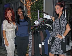 Image of Designer Suzanne DeLaurentiis and models Taja Simpson and Stephanie Deppensmith