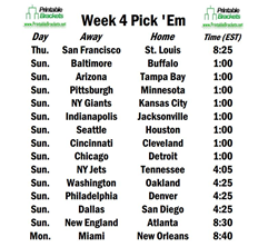 picture regarding Printable Nfl Weekly Pick Em Sheets named 7 days 4 of 2013 NFL Time Opens With Rams Internet hosting 49ers