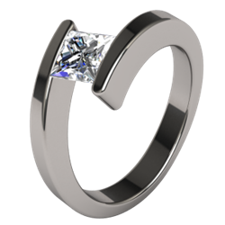 Titanium Ring Square Etoile Diamond Solitaire