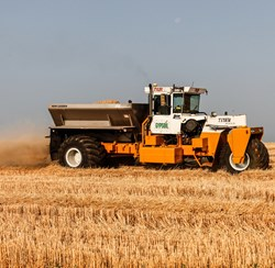 Gypsum can be applied to agricultural fields after harvest or any other time it is appropriate to be in the field without physically damaging the soil or the crop.