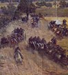 One panel of the painting depicting the battle of Gettysburg.