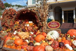 A pumpkin display at Dollywood Harvest Festival