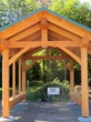 Using Douglas fir timbers, New Energy Works Timberframers crafted and raised the memorial pavilion at the trailhead of Ontario Pathways in Phelps, New York.