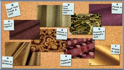 Purple and Gold discount designer upholstery and drapery fabric