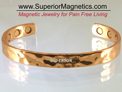 Copper Bracelets with magnets and a hammered surface for pain relief