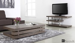 Milano Coffee Table and TV Stand in Real Elm Veneer