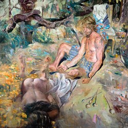 "KENT WILLIAMS | In Sleep, oil on linen, 58"" x 58"""