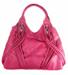 "The pink ""Gina"" concealed carry purse was crafted with two breast cancer ribbons woven into the design. It was named and created in honor of the mother of the designer, who is a breast cancer survivor."