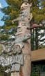 This totem pole, erected by Emile Brunel in 1933, depicts events in his life.