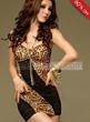 Split Joint Open Shoulder Leopard Dress