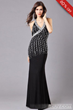 Concise Black V-Neck Straped Shinnning Floor Length Evening Dress