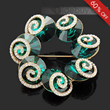 Nice Whirlpool Alloy with Dark Green Zircon Fashion Ladys Brooch Pins