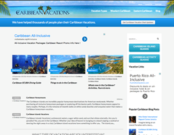 CaribbeanVacations.net website home page.
