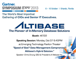Altibase at Gartner Symposium/ITxpo 2013, booth #ET22