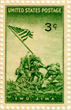 The flag-raisers of Iwo Jima also appeared on a three-cent postage stamp in 1945, part of an all-out effort to re-inspire the American people to fund and finish the war. AMERICA IN WWII COLLECTION