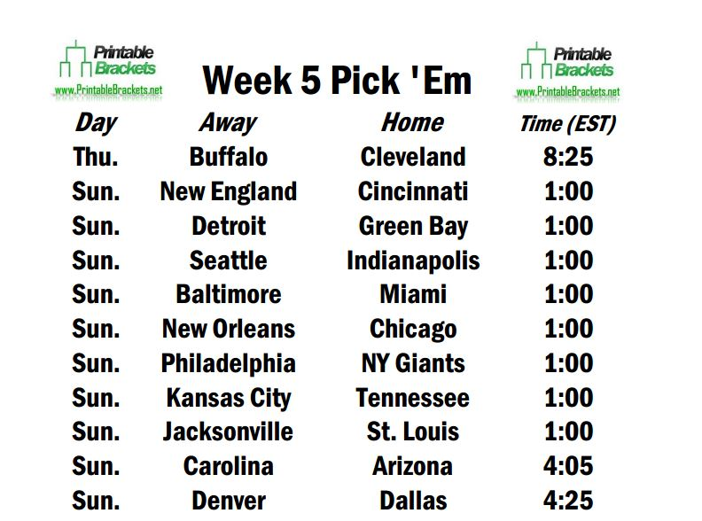 picture about Nfl Week 8 Printable Schedule named 7 days 5 Routine Opens With Expenses Going through Browns upon \u201cThursday
