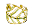 Leaf Cuff by Jessica Surloff. 18K, tourmalines and peridots