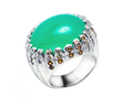 Chrysoprase Cocktail Ring by Jessica Surloff. 18K white gold, chrysoprase, and champagne diamonds