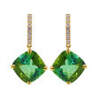 Green Tourmaline and Diamond Drops by Jessica Surloff. 18K gold, 20cts. green tourmaline drops, and white diamonds