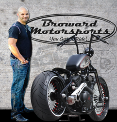 "Sam Nehme of Broward Motorsports with customized 2014 Star Bolt Motorcycle ""Lucky-13"""