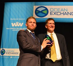 Chris Connor, WWL President & CEO, presents the 2013 Orcelle Award to ECOsubsea