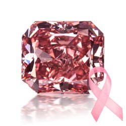 pink diamond with breast cancer awareness ribbon