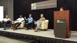 Pictured at C2SV Conference: (L to R)  SMG's President, Tommy Richardson; SMG's Founder/CEO Moses Kusasira;  President and Co-Founder Silicon Valley Fundraising Inc., Jorden Woods; Attorney, Structure Law Group, Robert Hawn;  Executive Editor and CEO, Met