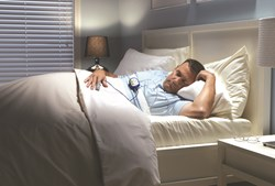 Patient monitored with SleepView, CleveMed's home sleep testing device.
