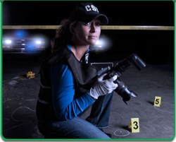 Investigator shooting crime scene photos