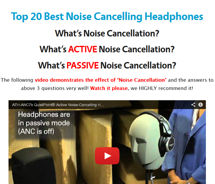 Computer Media Active Noise: Best Noise Cancelling Headphones: Top 20 Active, Passive