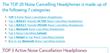 7 categories of NC headphones