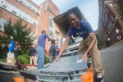 Howard University students offload servers for the Yahoo Data Center.